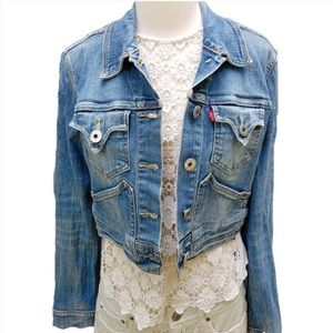 Levi's Cropped Distressed Denim Jacket